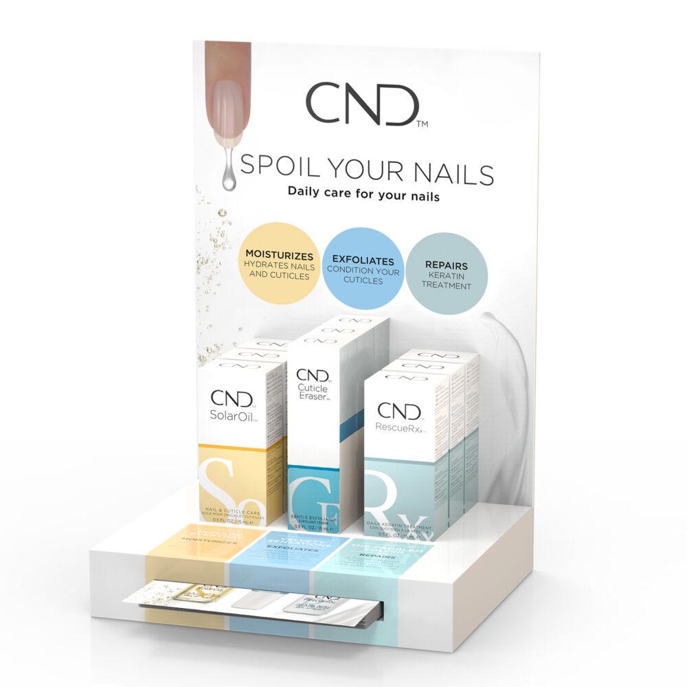 CND Care Display - állvány  RescueRXx, SolarOil és Cuticle Eraser termékekkel