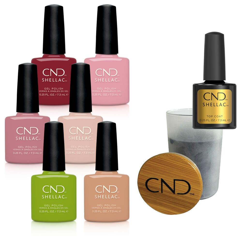 CND Autumn Addict Shellac kollekció ajándék 7,3 ml Original Top Coattal és CND kék gyertyával