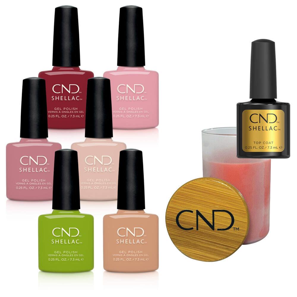 CND Autumn Addict Shellac kollekció ajándék 7,3 ml Original Top Coattal és CND pink gyertyával