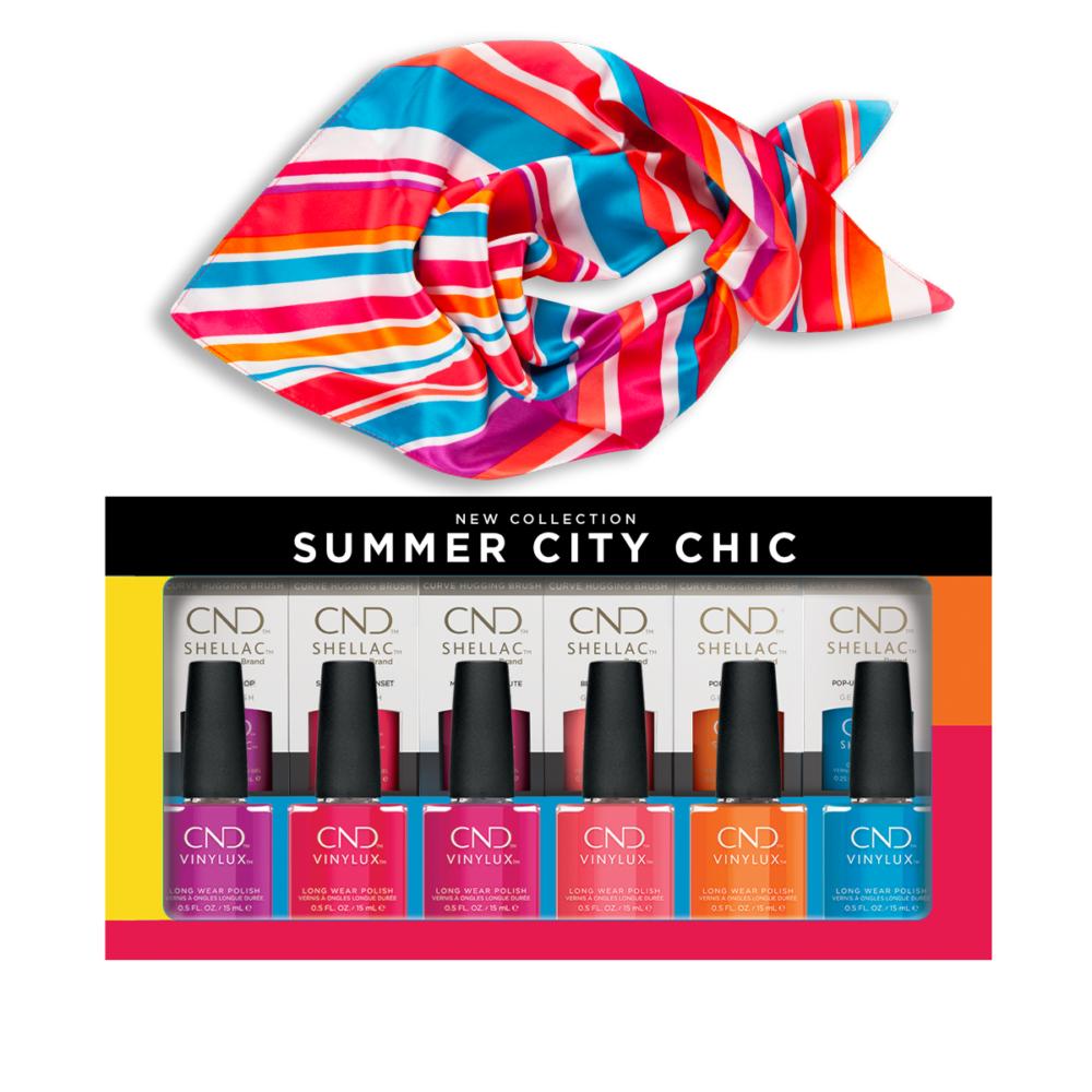 CND Summer City Chic PrePack szett ajándék Nail Art bemutatóval és Nyári kendővel