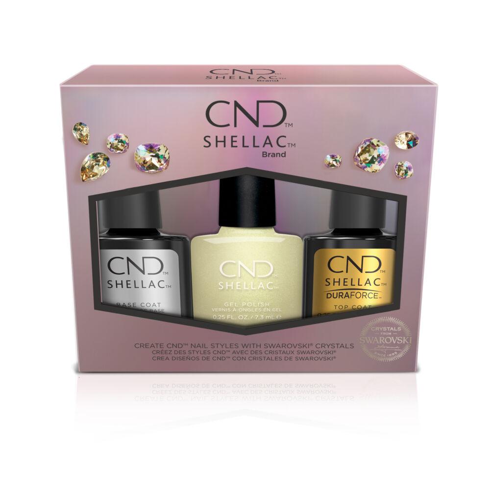 CND Shellac Holiday Divine Diamond szett - Limitált kiadás ajándék Swarovski kristályokkal és nailarttal