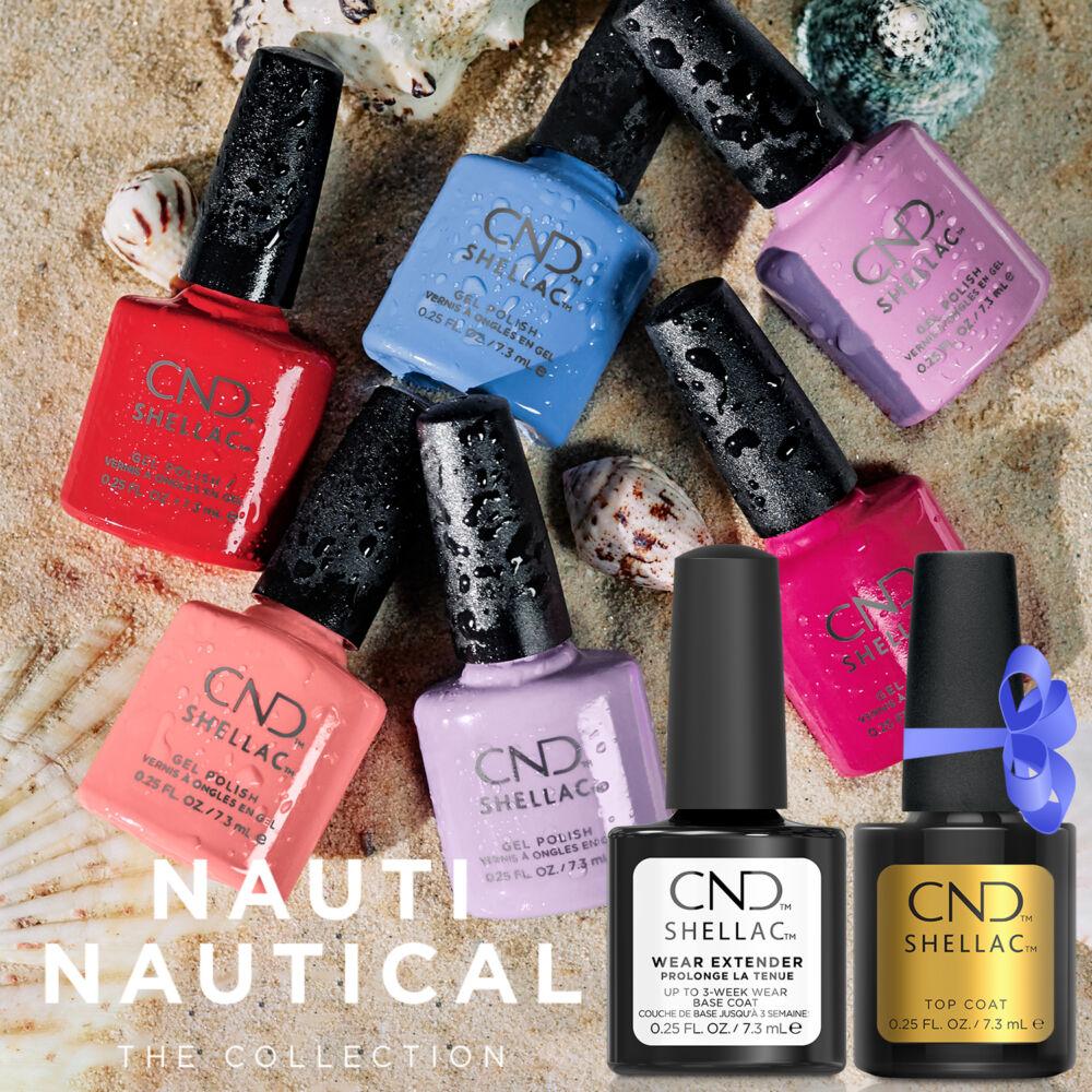 CND Nauti Nautical Shellac kollekció Wear Extender Base Coattal és ajándék 7,3 ml Original Top Coattal