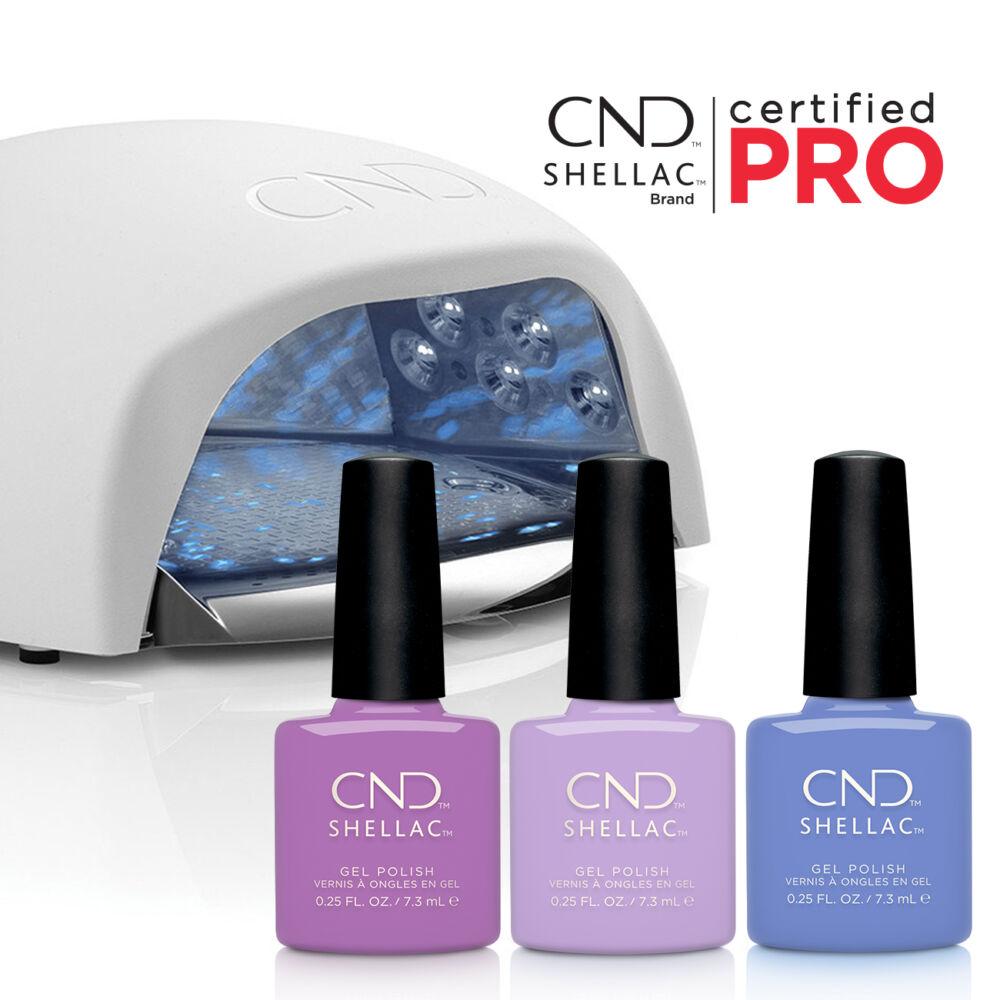CND LED lámpa csomag 24 színes Shellac lakkal, ajándék Shellac PRO képzéssel